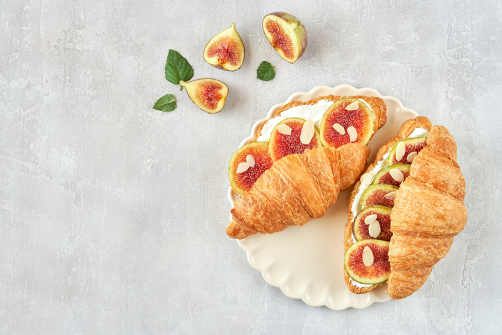 Fig, cream cheese and almond filled croissant
