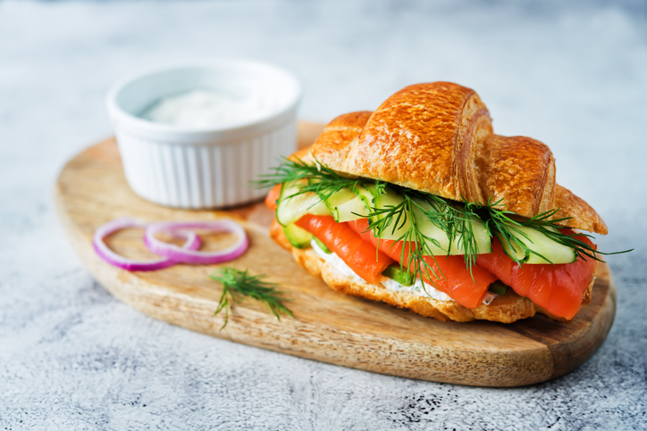 Savoury croissant filled with ricotta, smoked salmon, cucumber and dill