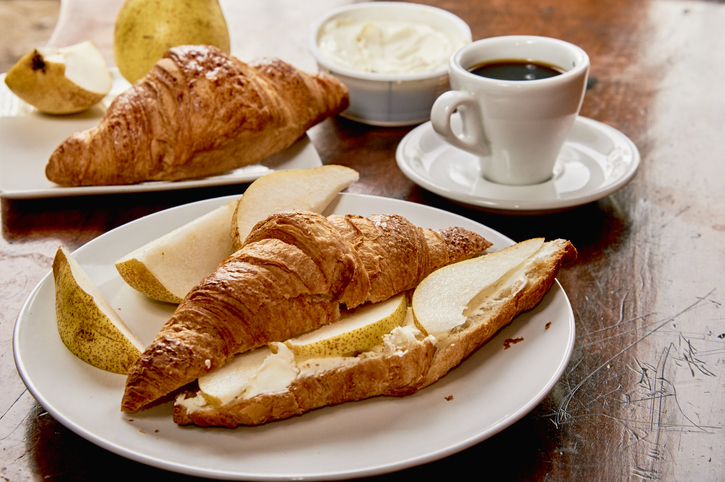 Poached pears and almond filled croissants