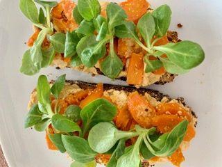 Hummus and Glazed Carrots on Toast