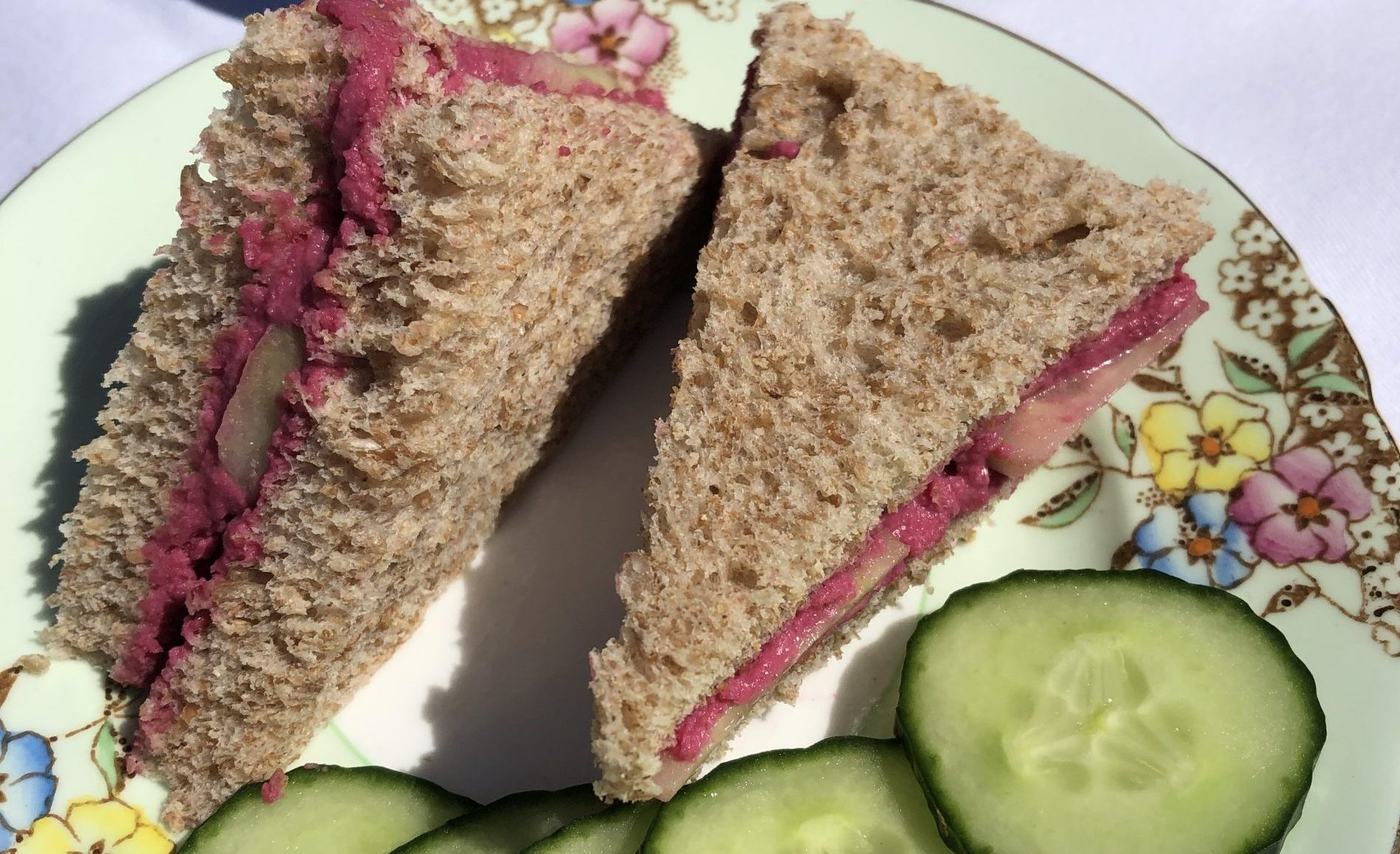 Beetroot, Hummus and Cucumber Sandwiches